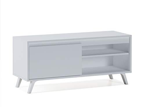 Home Heavenly® - Mueble TV salón Comedor Dallas, Mesa televisión Estilo nórdico con Amplio Espacio de almacenaje, fabricación Europea en Blanco y Blanco/Roble Natural (100 cm, Blanco)