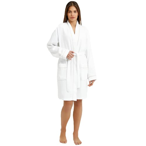 Sahara Maison - Wafflepique Robe aus natürlicher Baumwolle Bademantel Damen, Echte baumwolle, schnell trocknend, SuperSoft-Bademantel für Männer und Frauen - (Valerian Bademantel Unisex) (S/M, Beige)