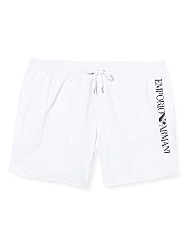 Emporio Armani Swimwear Mens Boxer Rainbow Eagle Swim Trunks, White, 56