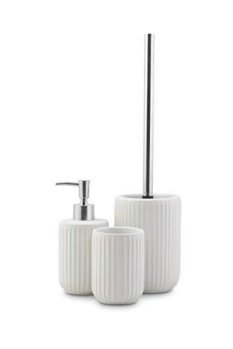 3tlg. Badset mit Seifenspender, Zahnputzbecher, WC-Bürste Keramik Weiß/Silber Edelstahl-Optik Badezimmer Badaccesoires Toilettenbürste Set