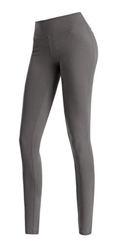 SIMOOOTHY Leggings y medias deportivas Pantalones De Yoga De Cintura Alta Para Mujer,Levantamiento De Cadera,Bolsillo,Secado Rápido,Deportes,Fitness,Leggings,Pantalones Grises M