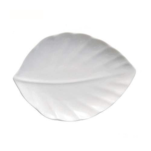 Assiette Ustensiles De Cuisine Feuille Plate Pâtes Céramique Blanche Sushi 25.3cm À Soupe Western Dim Sum (Color : Blanc, Size : 25.3 * 19 * 2.5cm)