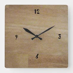 onepicebest Square Wooden Wall Clock, Cutting Board Silent Non Ticking Wall Decor for The Living Room, Kitchen, Office, Bedroom, Patio, 11 x 11 Inch