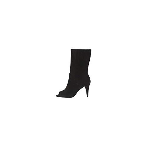 Michael Kors Damen Schuhe Ankle Boots Elaine Open Toe Bootie Suede Black Schwarz