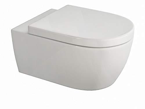 Design Hänge WC | Spülrandlose Toilette | Wand-WC | WC-Set | Inkl. abnehmbaren WC-Sitz mit Softclose Absenkautomatik | Kurz | 485 x 365 x 330 mm