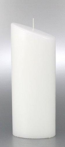 Kerze Oval, weiss für Hochzeit, Taufe 23x9 cm - 8616 - Kerzenrohling Ellipse zum Basteln, Verzieren und Gestalten.
