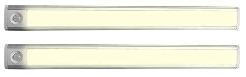 Lunartec Schranklicht: 2er-Set Akku-LED-Lichtleisten mit Licht- und Bewegungssensor, warmweiß (Lichtleiste Bewegungsmelder)