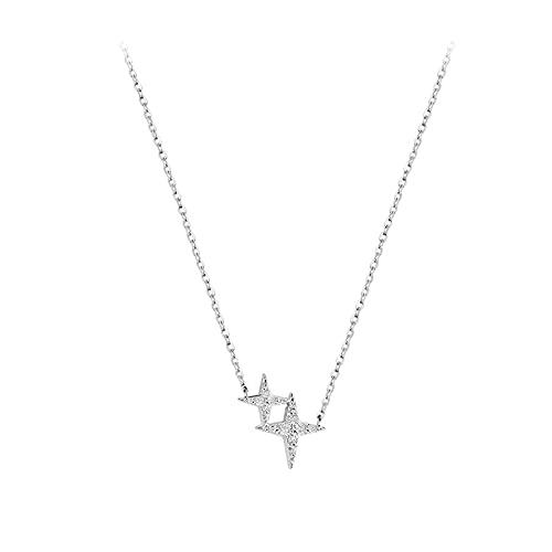 ZIYUYANG Collar colgante, plata de ley con purpurina circonita cúbica cruz estrella collar CrossStar