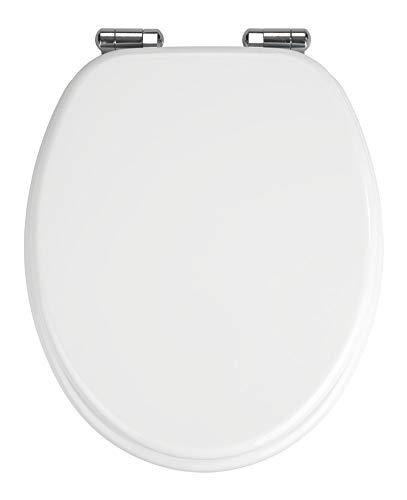 WENKO WC-Sitz Urbino, Toilettensitz mit Absenkautomatik, WC-Deckel mit rostfreier Befestigung, MDF, Weiß