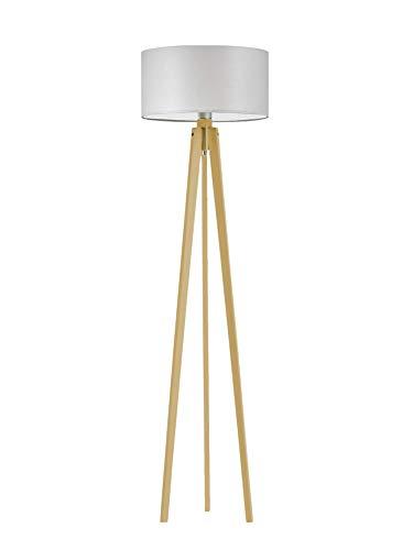 Lámpara de pie de madera Miami de color gris claro con marco de madera de roble