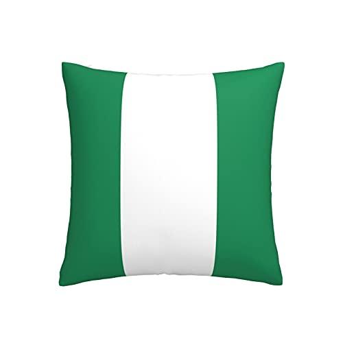 Kissenbezug mit Nigeria-Flagge, quadratisch, dekorativer Kissenbezug für Sofa, Couch, Zuhause, Schlafzimmer, drinnen & draußen, niedlicher Kissenbezug 45,7 x 45,7 cm