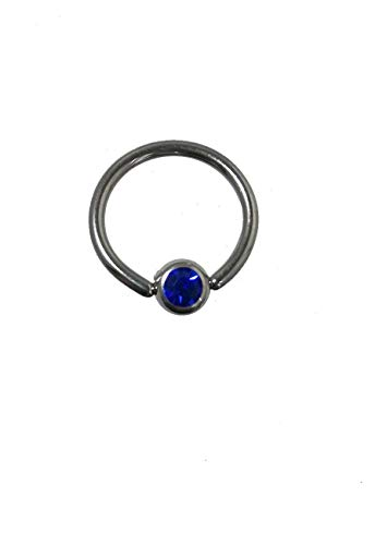 Piercing-dreams KKR0031 - Piercing ad anello segmentato in titanio anodizzato, dimensioni 1,6 x 12 mm, disponibile con perlina in in 8 colori a scelta