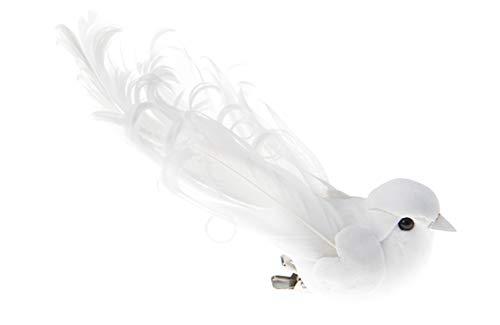 Deko-Vögel mit Clip weiß, 12 x 3,8 cm, 2 Stück, Tisch- und Raumdeko