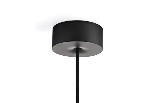 Deckenbaldachin, Formschöne magnetische Baldachin mit integrierte Zugentlastung - Polycarbonat Schwarz - Made in Germany