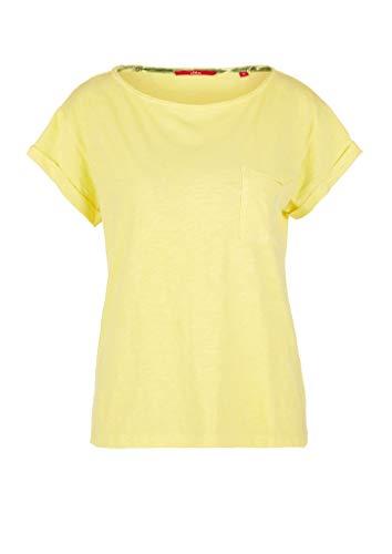 s.Oliver Damen Flammgarnshirt mit Brusttasche Yellow 38