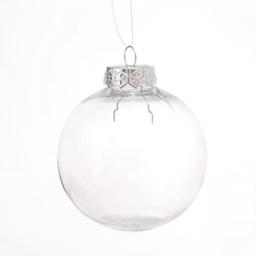 20 palline di plastica trasparente per Natale, palline di plastica trasparente, palline di vetro trasparente da appendere per albero di Natale/decorazione della casa (8 cm argento)