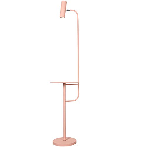 LMYMX StehlampeLedDimmbar, Standleuchte Touch, Leselampe Dimmbar, Mit kleinem Tisch, Schmiedeeisen, für Wohnzimmer, Schlafzimmer, Büro, Pink, Hoch 142 cm,B