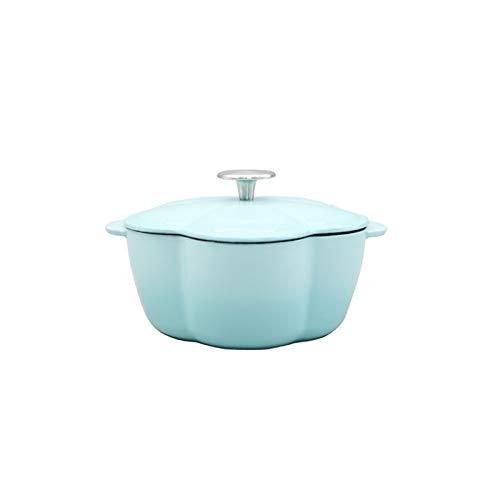 JT-Cookware Pot à Soupe Domestique en Fonte De 20 Cm, Casserole en Forme De Pétale Casserole Antiadhésive Adaptée à Toutes Les Sources De Chaleur Casserole Ustensiles De Cuisine(Color:Bleu,Size:1.5L)