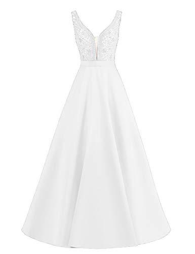 HUINI Abendkleider Damen Satin Ballkleider A-Linie Hochzeitskleider Lang Prinzessin Maxikleider Ärmellos Glitzer Weiß 48