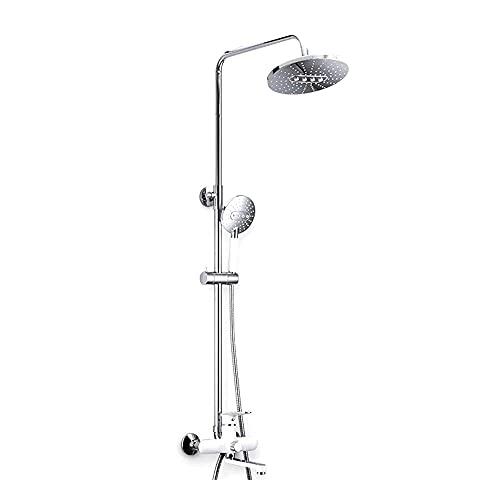 WGFGXQ Badezimmerduschsystem, Multifunktions-Duschmischerset mit Verstellbarer Duschstange, an der Wand montierte Duschsäule mit Regendusche, Badewannenarmatur und Handbrausekopf