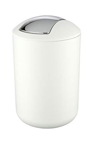 WENKO Kosmetikeimer Brasil Weiß L - Kosmetikeimer, absolut bruchsicher Fassungsvermögen: 6.5 l, Kunststoff (TPE), 19.5 x 31 x 19.5 cm, Weiß