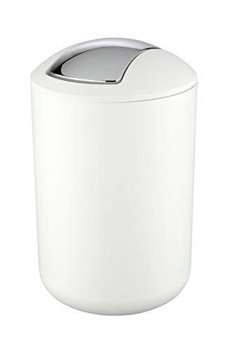 WENKO Kosmetikeimer Brasil L 6,5 Liter, Badezimmer-Mülleimer mit Schwingdeckel, Abfalleimer aus bruchsicherem Kunststoff, Ø 19,5 x 31 cm, Weiß