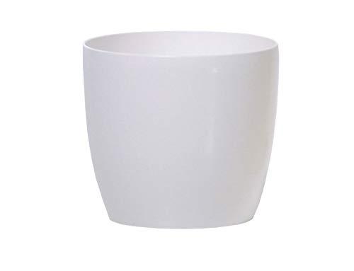 Prosperplast DUO400-S449 Blumentopf Coubi glänzende Optik, 40 X 40 X 36.5cm, 30L, weiß