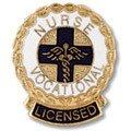 EMI Vocational Nurse Licensed LVN Emblem Pin - Round (Licensed Wreath Edge)