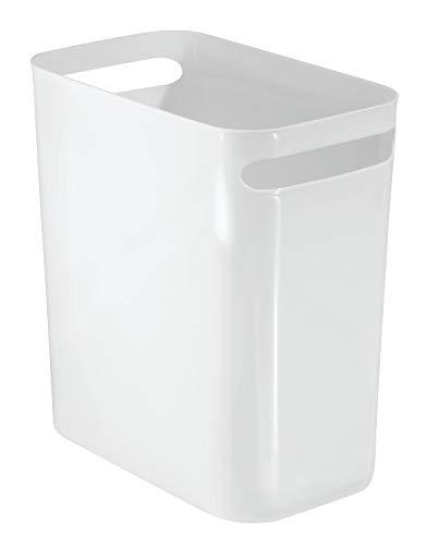 iDesign Cubo de basura con asas, papelera pequeña de plástico con capacidad para 9,5 litros, moderna papelera de cocina, baño y oficina, blanco