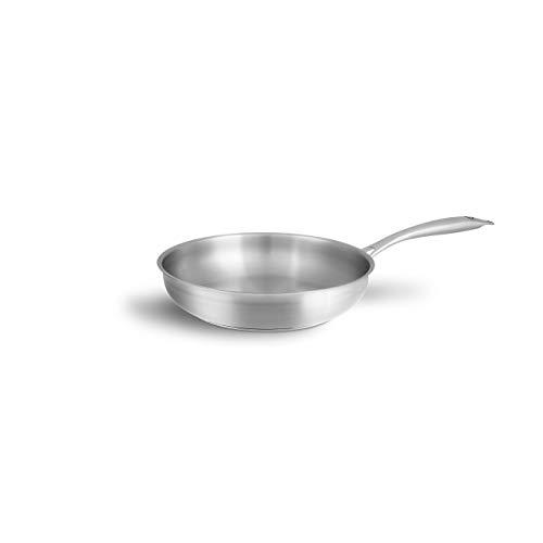 Sartén Acero Inoxidable sin Tapa de 24 cm – Sartenes Inducción con Mango Ergonómico – Sartenes Inducción Antiadherentes - Para Todo Tipo de Cocinas Incluidas las de Inducción