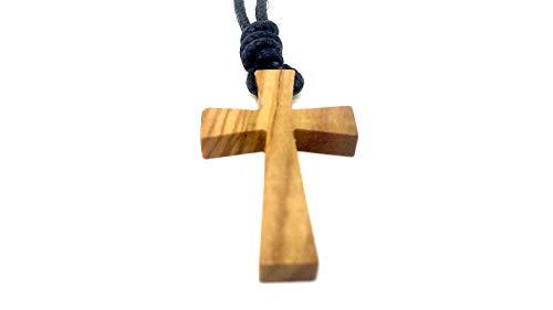 bagusto Halskette aus echten Olivenholz mit Kreuz Anhänger 36mm Band geflochten längenverstellbar handgemacht auf Mallorca