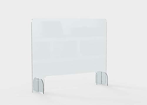 Mampara de protección metacrilato 3mm con ventanilla + vinilo seguridad de regalo. Ideal para mostradores de tiendas, farmacias, oficinas. Gran resistencia, estabilidad. (100 x 75 cm (ancho x alto))