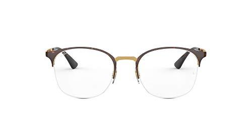Ray-Ban RX6422 - anteojos de sol cuadradas de metal sin polarizar, lentes de prescripción, parte superior de oro rosa en Havana/Demo, 51 mm