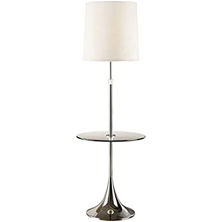 Artiva Usa Enzo Adjustable 52 To 65 Inch Modern Chrome Floor Lamp With Tempered Glass Table Home Kitchen