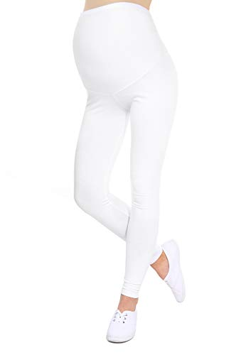 Oasi - leggings toute longueur de maternité de bonne qualité 95% Coton 3085 (EU 38, Blanc)