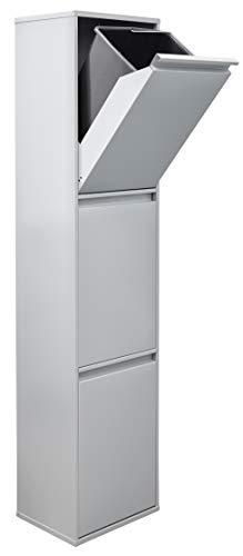 Arregui Basic CR302-B Cubo de Basura y Reciclaje de 3 Compartimentos, Gris Claro, 133,5 x 30,5 x 24,5 cm