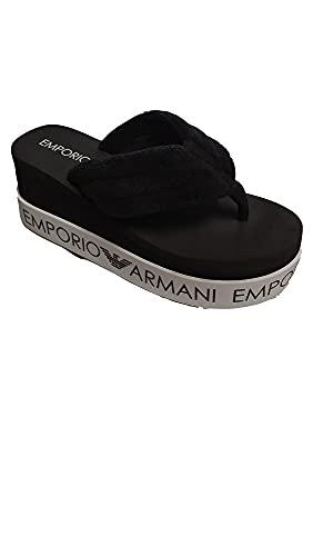 Emporio Armani Swimwear Flip Flop Light Logo, Chanclas Mujer, Black Wht Blk, 34 EU