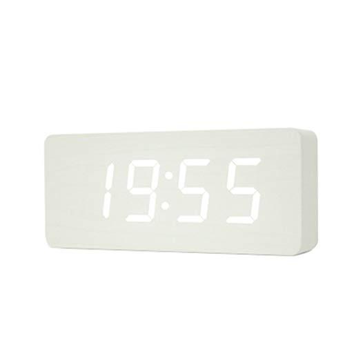 Reloj de Mesa Reloj despertador de madera multicolor Rectangular LED Reloj despertador Termómetro de escritorio Reloj despertador moderno Escritorio electrónico Reloj despertador digital Reloj de escr