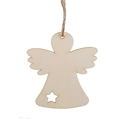 EliteKoopers 10 bolas colgantes de madera MDF con forma de ángel para Navidad, decoraciones en blanco y manualidades