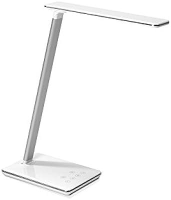 TecLines DL002W - Lámpara de mesa (aluminio, 5 vatios, 12 x 25,2 x 40 cm), color blanco y plateado