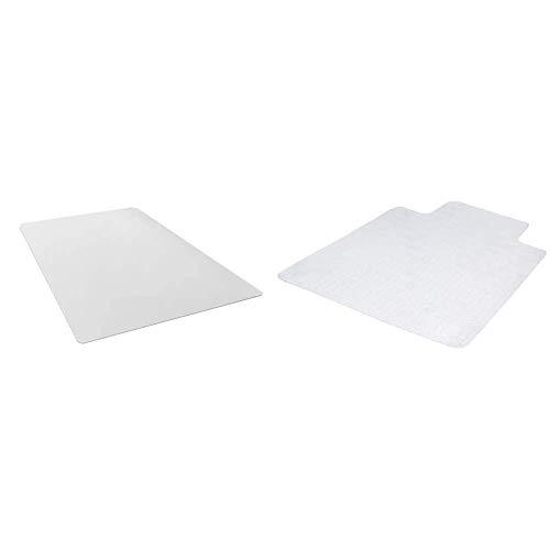 Amazon Basics Polycarbonate Chair Mat for Hard Floors - 47 Inches x 51 Inches & Polycarbonate Carpet Chair Floor Mat with Lip - 47 Inches x 35 Inches