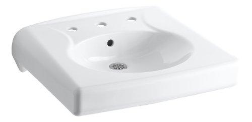 KOHLER K-1997-8-0 Brenham Wall-Mount Bathroom Sink with 8' Centerset, Less Soap Dispenser Hole, White