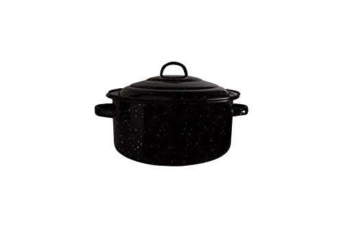 Millvado Graniteware 5 Qt Stockpot: Naturally Nonstick Soup Pot With Lid - Speckled Enamel Cookware - Stock Pot For Cooking and Boiling - Big Granite Cooking Pot for Stovetop, Campfire, Outdoor Stove