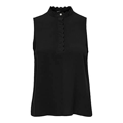 Only ONLMIMI Life S/L Top WVN Camiseta sin Mangas, Negro, Mujer