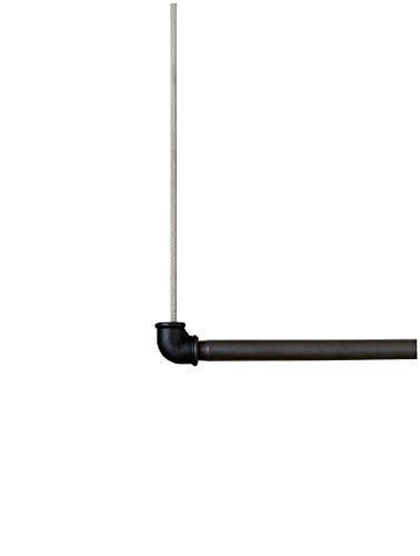 The Flashing Priest Handmade Premium Hängegarderobe Stahl Industrial Baumwollseil Deckenmontage Kleiderschrank Schlafzimmer Wohnzimmer und Flur. Vielseitig & individuell einsetzbar (Anthrazit, 90 cm)