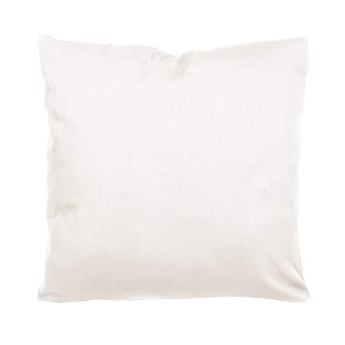 SHC Textilien Satin Kissenbezüge |Kissenbezug | Kissenhülle | Zierkissenbezüge als Doppelpack mit Reißverschluss aus 100% Baumwolle 80x80 cm weiß