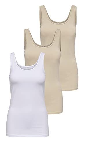 Only - ärmelloses T-Shirt für Damen., Beige/Weiß (2 x Humus/ 1 x Weiß), Large