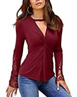 Mujeres V cuello Tops adelgazar encaje diseño blusa cruz frontal sexy manga larga túnica sólida Tops corte fuera camisetas
