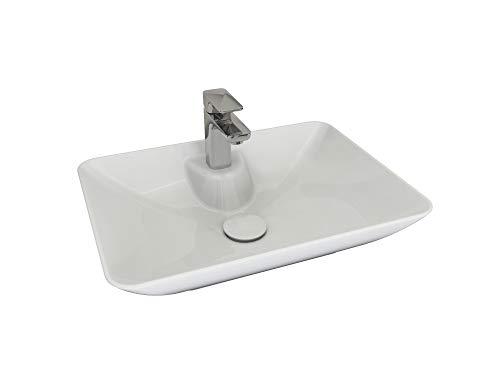 Aqua Bagno Design Keramik Aufsatzwaschbecken Eckig Waschschale Waschtisch KB.Leon.003 | 53 x 40 cm