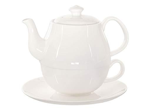 Buchensee Tea for One Daisy 600ml aus Crystal Bone China Porzellan in fein-cremigem Weiß. Teekanne + Teetasse + Untersetzer